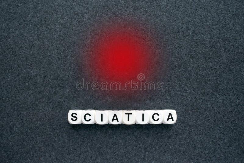 Exprimez la sciatique des blocs blancs et le point rouge de cercle sur le fabri foncé photographie stock libre de droits