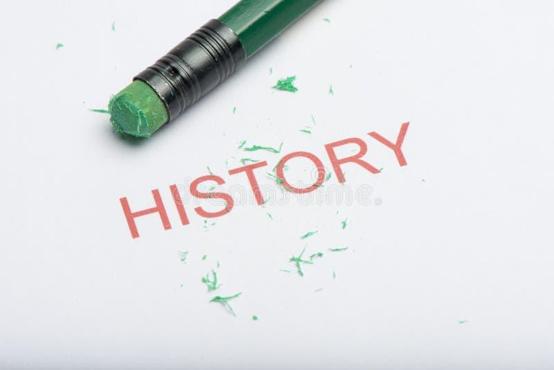 Exprimez le ` d'histoire de ` avec la gomme et les copeaux de crayon usés photo stock