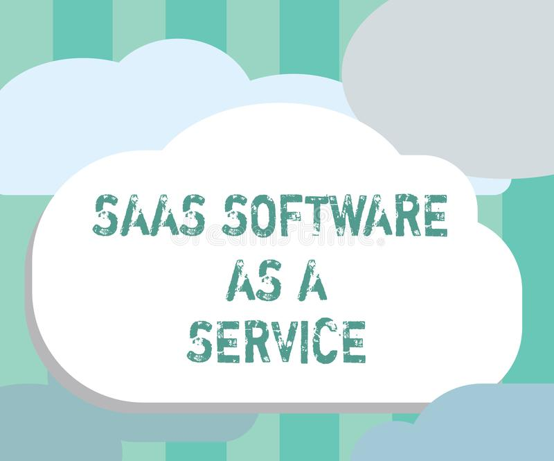 Exprimez le logiciel de Saas des textes d'écriture comme service Le concept d'affaires pour l'usage du nuage a basé l'APP au-dess illustration stock