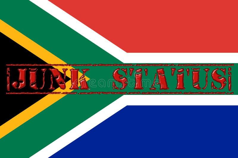 Exprimez le statut d'ordure embouti à travers le drapeau sud-africain illustration de vecteur