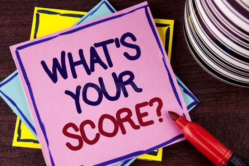 Exprimez le texte d'écriture ce qui est votre question de score Le concept d'affaires pour indiquent différents résultats personn photo stock