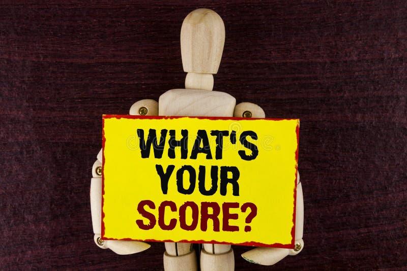 Exprimez le texte d'écriture ce qui est votre question de score Le concept d'affaires pour indiquent différents résultats personn images stock