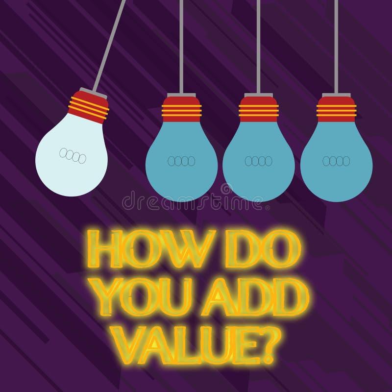 Exprimez le texte d'écriture comment vous ajoutez la question de valeur Concept d'affaires pour améliorer la couleur de processus illustration libre de droits