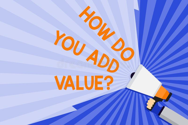 Exprimez le texte d'écriture comment vous ajoutez la question de valeur Concept d'affaires pour améliorer la main de processus de illustration stock