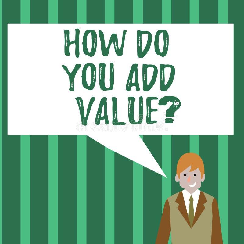 Exprimez le texte d'écriture comment vous ajoutez la question de valeur Concept d'affaires pour améliorer le processus de fabrica illustration de vecteur