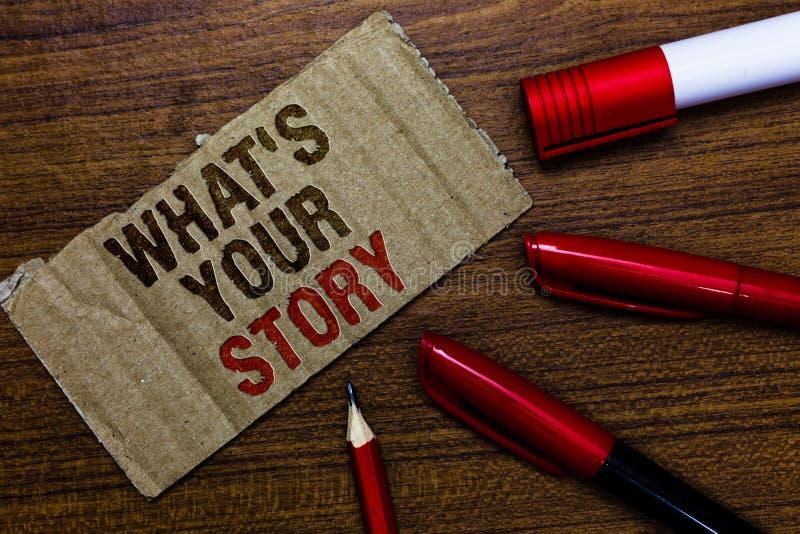 Exprimez le texte d'écriture quel s est votre histoire Le concept d'affaires pour demander à quelqu'un m'indiquent au sujet de se images stock