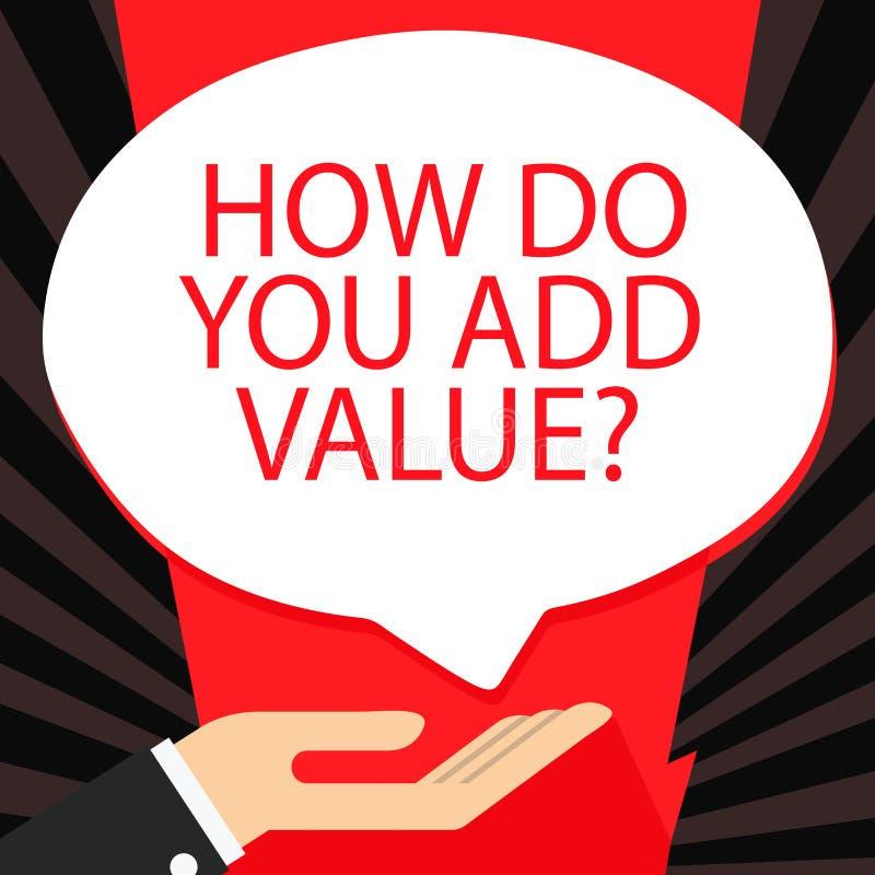 Exprimez le texte d'?criture comment vous ajoutez la question de valeur Concept d'affaires pour améliorer la paume de processus d illustration stock