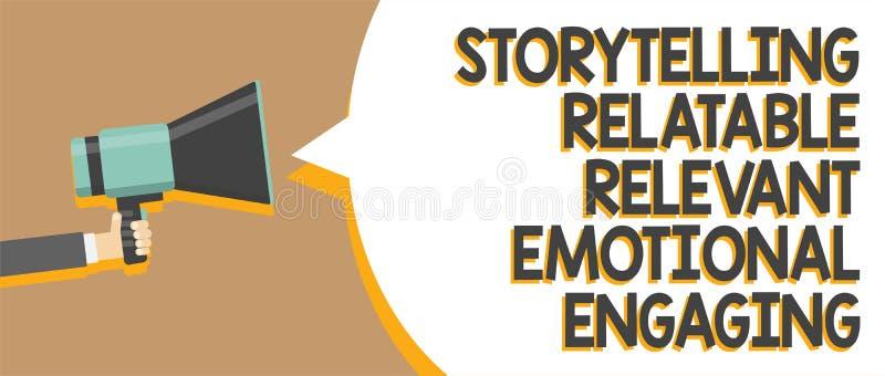 Exprimez s'engager émotif approprié racontable de fabulation des textes d'écriture Le concept d'affaires pour des contes de souve illustration libre de droits