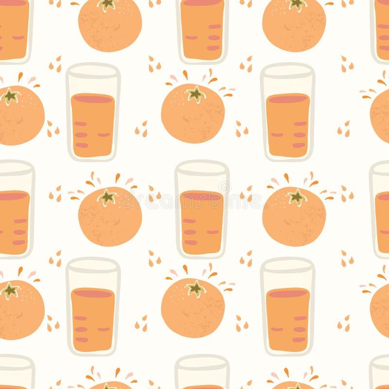 Exprimió recientemente la historieta anaranjada de los agrios con el vidrio de jugo y el descenso mojado salpica ilustración del vector