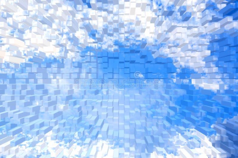 Expulsam o céu azul e a nuvem branca ilustração do vetor