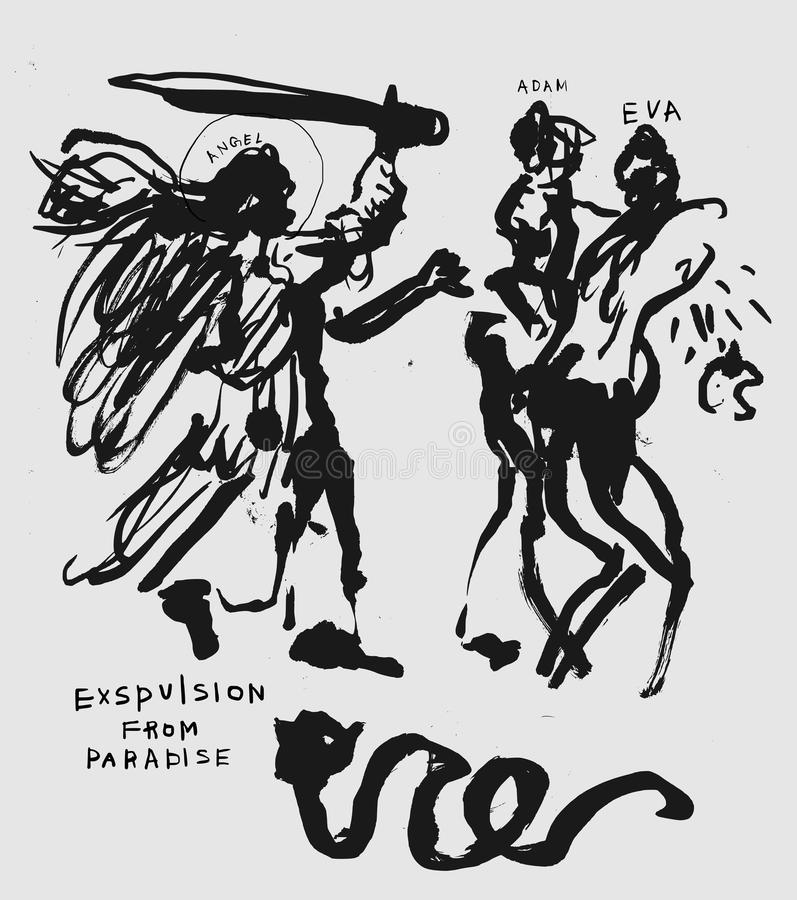 Expulsion du paradis illustration libre de droits