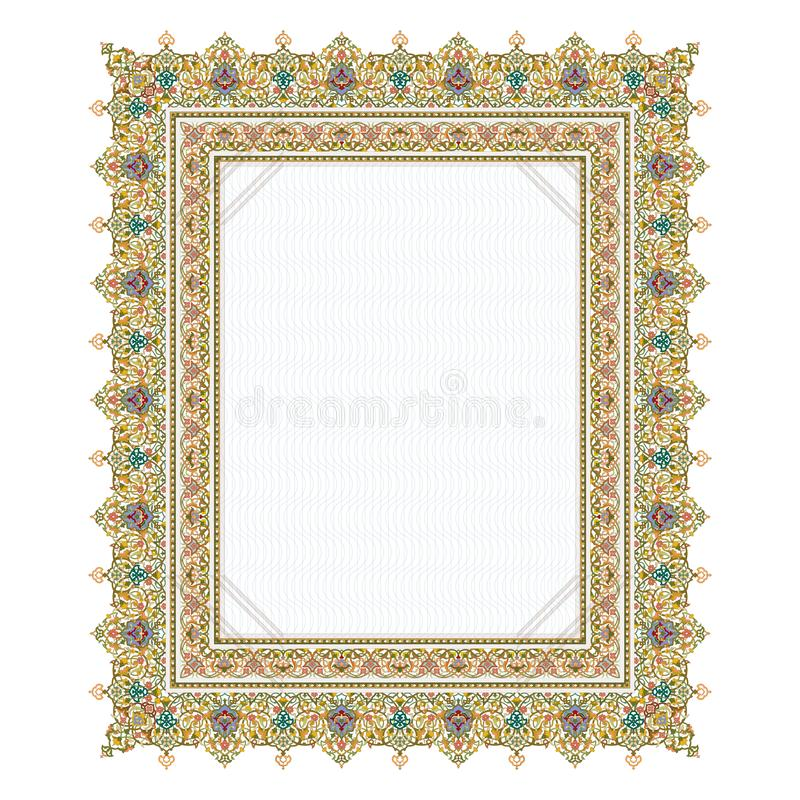 Exquisite arabesque pattern in brown and turquoise tone. Exquisite arabesque pattern on white background stock illustration