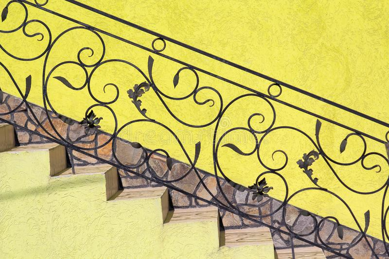 Exquisite building railings of wrought iron stock photography