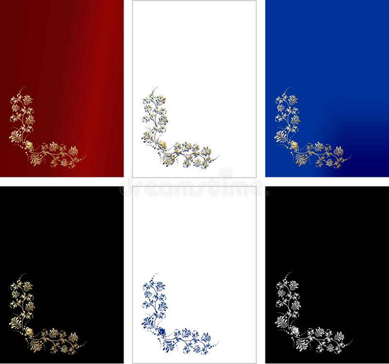 Exquisite cards. Set of six exquisite cards with golden and silver vintage design on red, blue, white and black background royalty free illustration