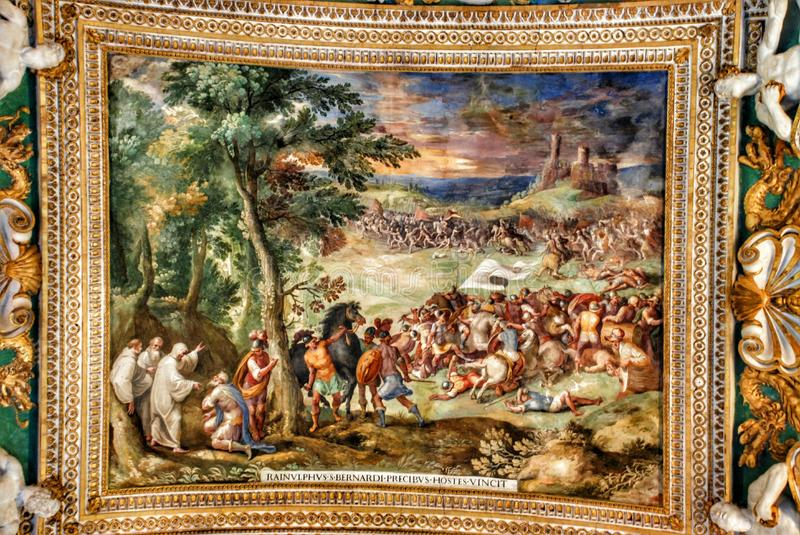 Exquisite ceiling of Gallery of Maps, Vatican museum, Rome. Ceiling in Gallery of the Geographical Maps. Vatican Museum. Italy. Stanza della Segnatura (Room of stock image