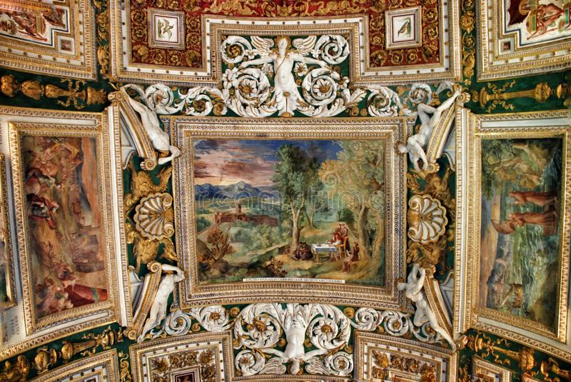 Exquisite ceiling of Gallery of Maps, Vatican museum, Rome. Ceiling in Gallery of the Geographical Maps. Vatican Museum. Italy. Stanza della Segnatura (Room of stock photo