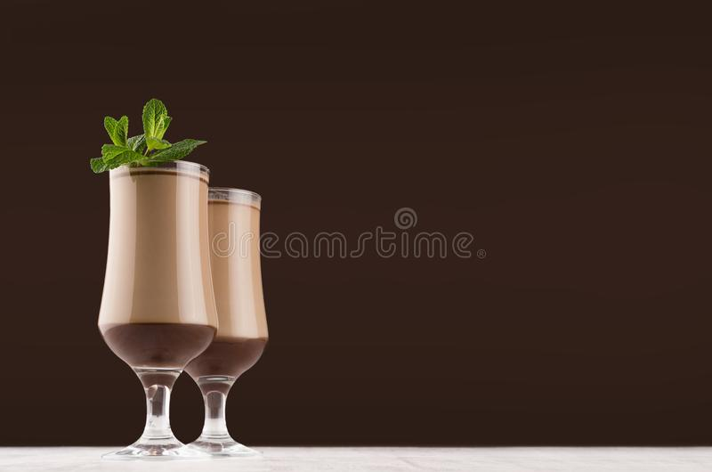 Exquisite chocolate layers dessert with fresh green mint  in dark brown interior, copy space. royalty free stock photos