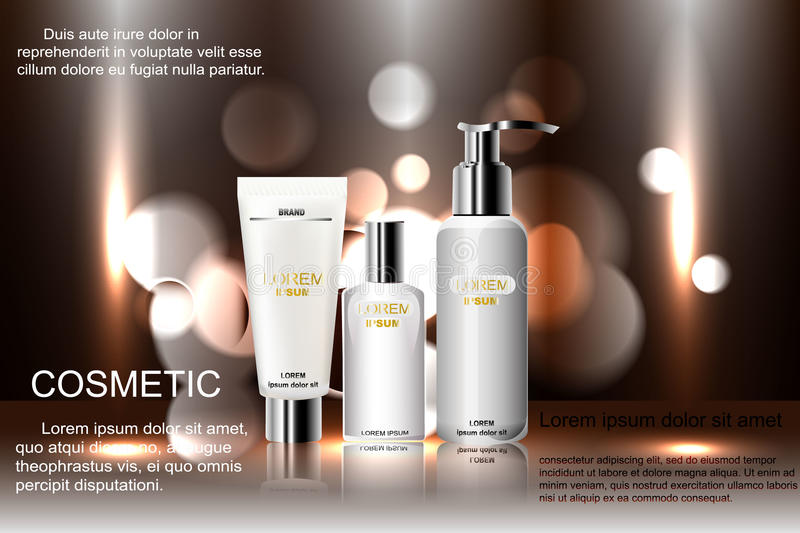Exquisite cosmetic ads template, blank mockup with sparkling bokeh background and dazzling effect, spray bottle, tu. Exquisite cosmetic ads template, blank stock illustration