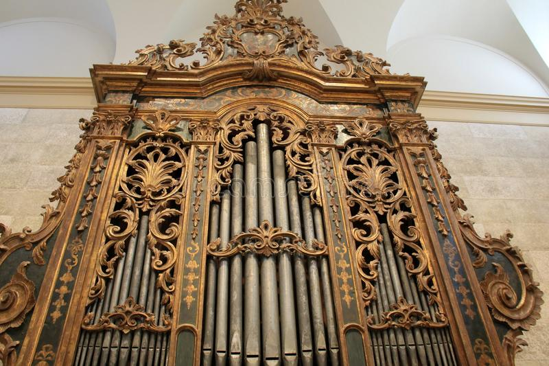 Amazing detail of Italian Baroque Organ, Memorial Art Gallery, Rochester, New York, 2017. Exquisite detail in the Italian Baroque Organ set in large room and royalty free stock photography