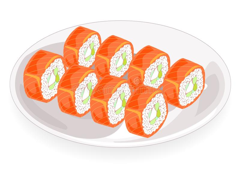 Exquisite dishes of national cuisine. On a beautifully served dish includes seafood, sushi, rolls, caviar, rice, greens. Festive. Treat. Vector illustration stock illustration