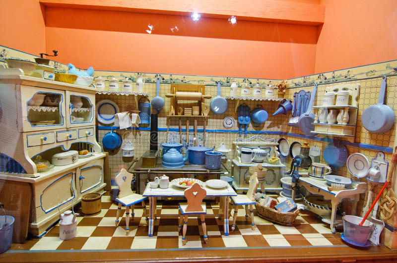 Exquisite doll house kitchen stock image