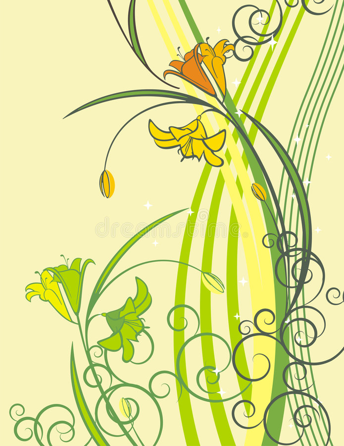 Exquisite floral series. Exquisite floral background with flowers, buds and scroll elements stock illustration