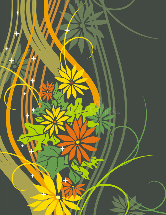 Exquisite floral series. Exquisite floral background with flowers and scroll elements vector illustration