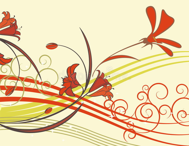 Exquisite floral series. Exquisite floral background with flowers, buds and scroll elements. May be used for wedding related designs stock illustration