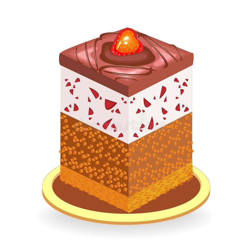 Exquisite food. A piece of delicious chocolate cake. The sweetness is decorated with berries of strawberries and sweet cherries. Vector illustration royalty free illustration