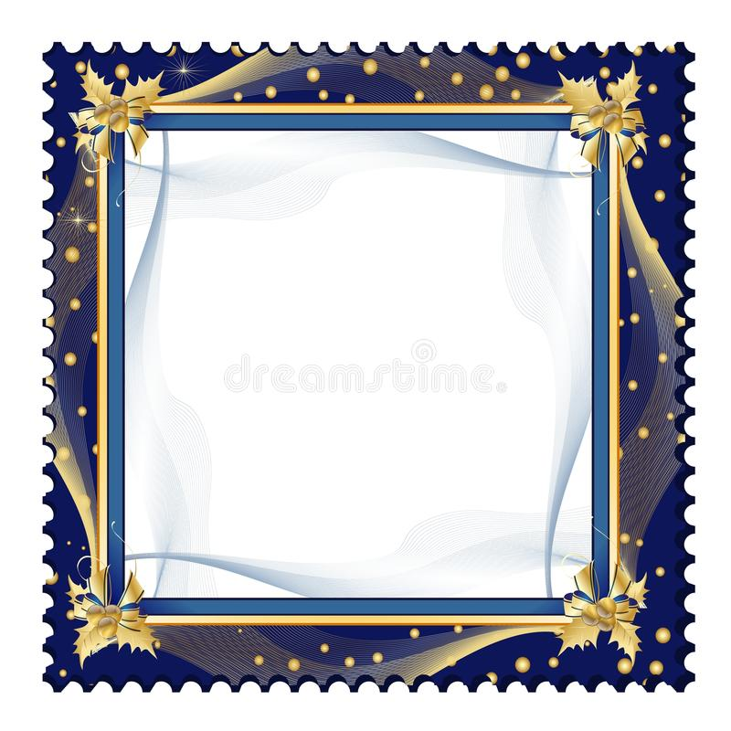 Exquisite frame. Exquisite golden frame on dark blue background with jagged border vector illustration