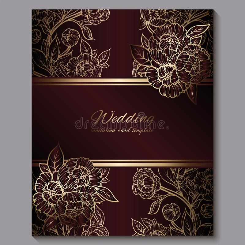Wedding Invitation Border In Red And Gold Stock Vector Illustration Of Damask Fashion 30812031