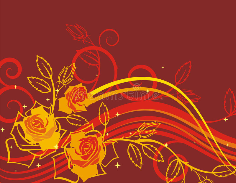 Exquisite rose series. Exquisite floral background with roses, rose buds and scroll elements royalty free illustration