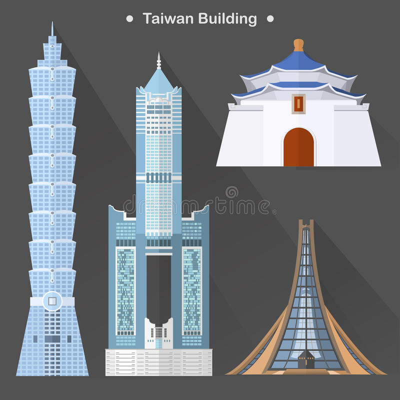 Exquisite Taiwan architecture. Collection in flat design stock illustration
