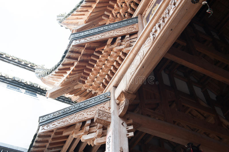 Exquisite wood carving-Antique level of architectural decoration royalty free stock images