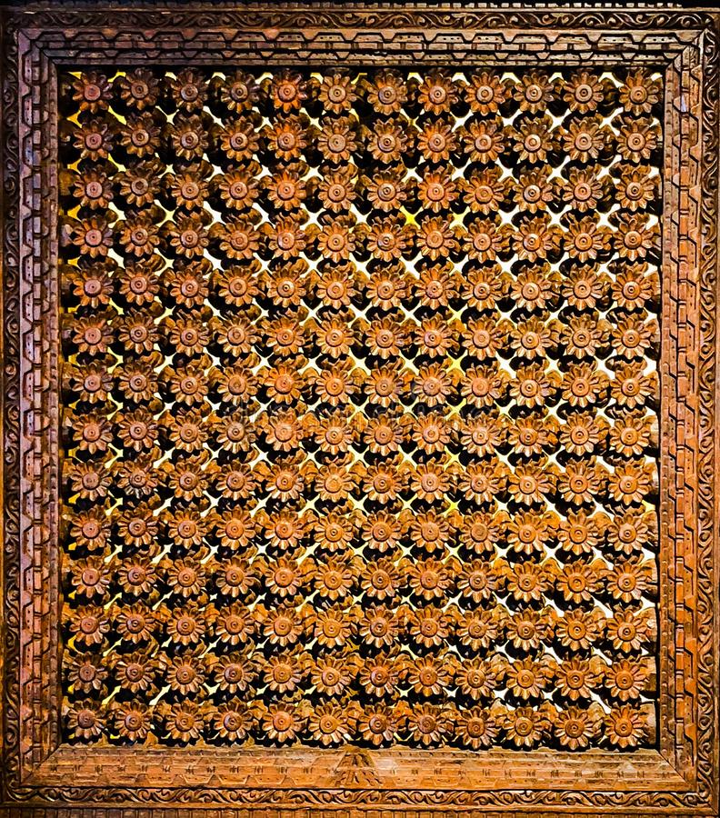 Exquisite wood crafted window shade royalty free stock photos