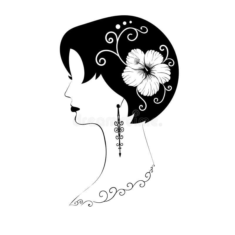 Exquisito perfil femenino de pelo corto con pelo negro, flor de hibiscos en su cabello, hermosos patrones y pendientes largos - v stock de ilustración