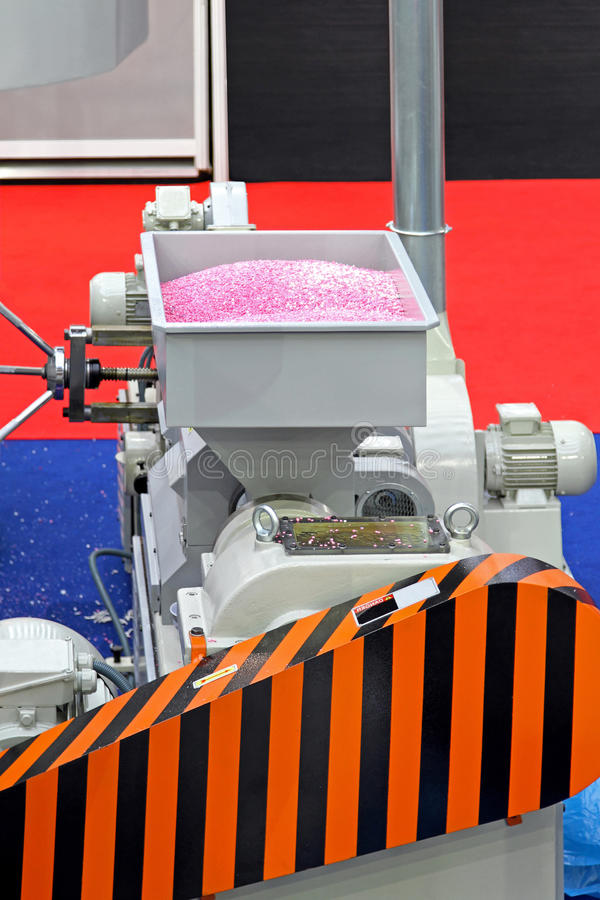 Exstruder machine. Extruder machinery for plastic production in factory stock image
