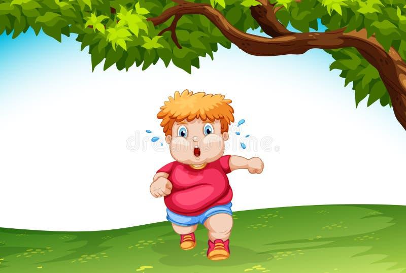 Extérieur courant d'enfant obèse illustration de vecteur