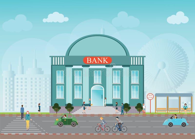 Extérieur d'édifice bancaire illustration de vecteur