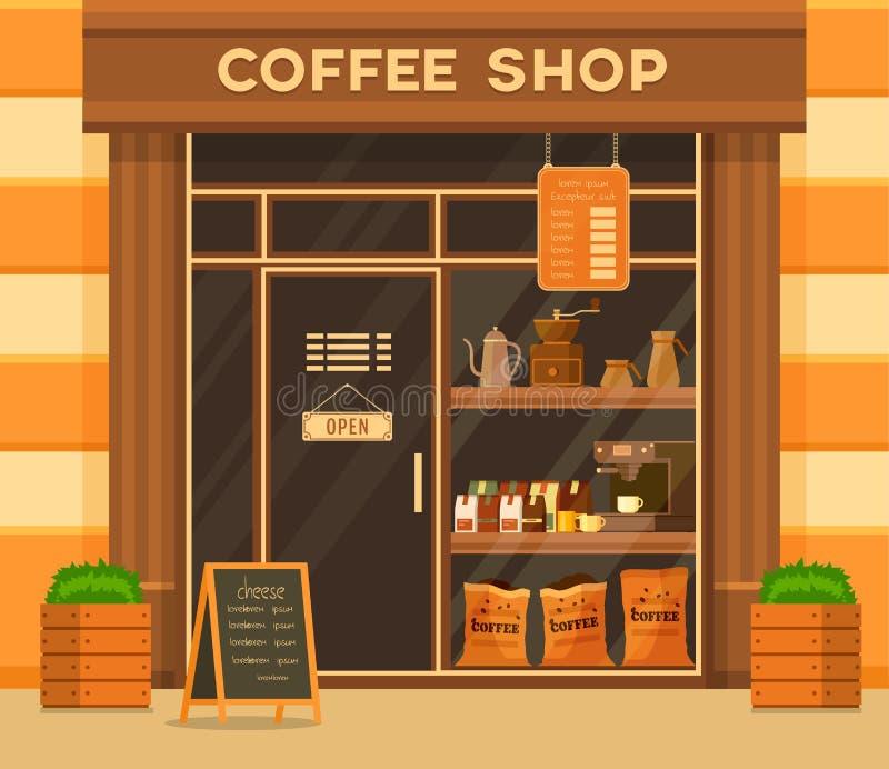 Extérieur de café ou de café Étalage en verre illustration libre de droits