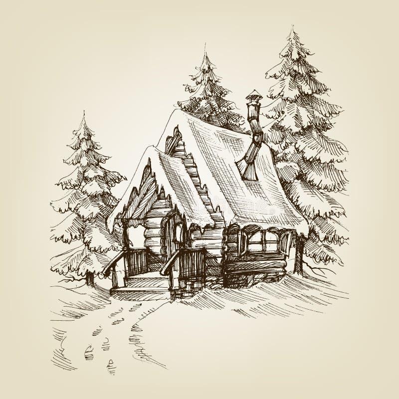 Extérieur de carlingue d'hiver illustration de vecteur