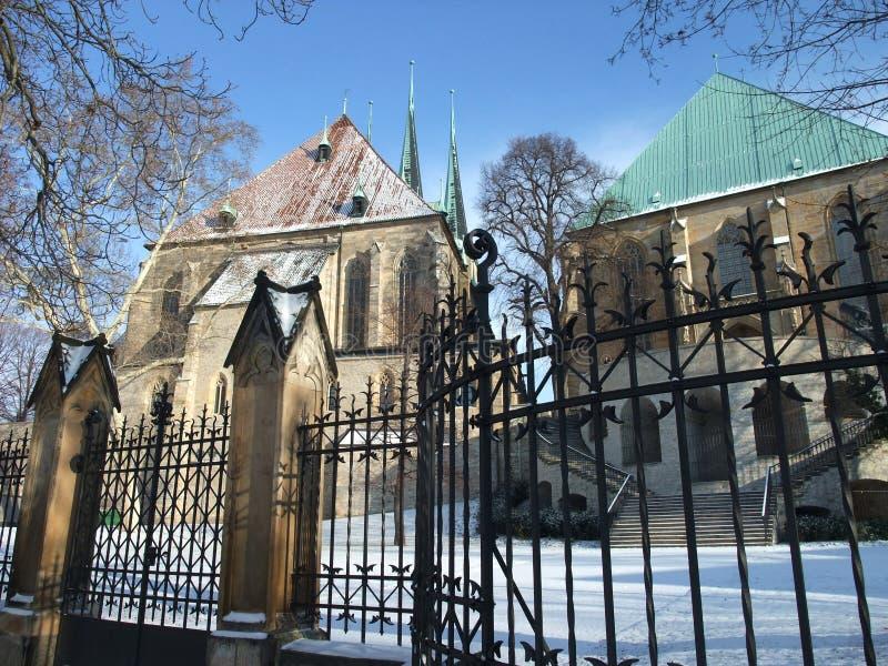 Extérieur de cathédrale d'Erfurt images libres de droits
