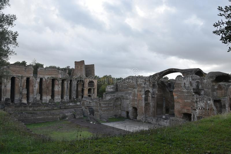 Extérieur de Chambre de Bath de Therme de Grands de villa du ` s de Hadrian, Tivoli photos libres de droits