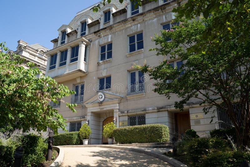 Extérieur de l'ambassade de Grèce à Washington DC, dans la zone de Dupont Circle de Embassy Row images stock