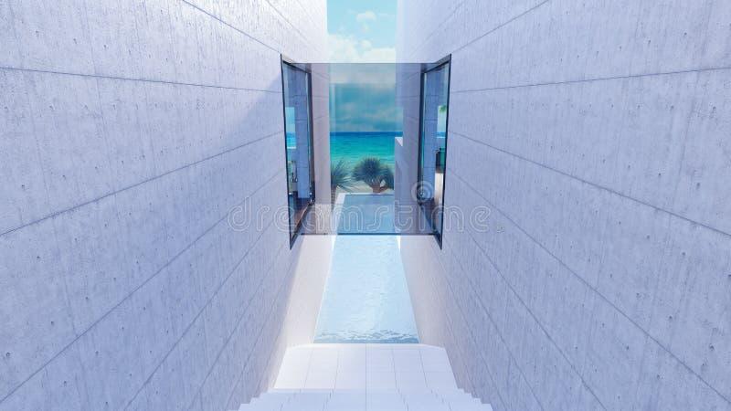 Extérieur de luxe de maison de plage avec la piscine 3d rendre illustration de vecteur