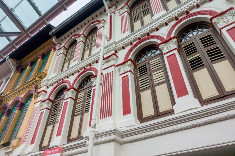 Extérieur de Windows et d'extérieur de style de Singapour et de la Malaisie photographie stock libre de droits