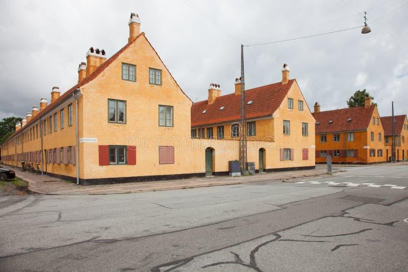 Extérieur des maisons antiques danoises photo libre de droits