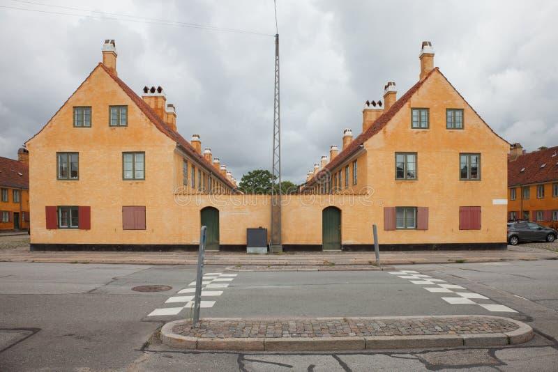 Extérieur des maisons antiques danoises image libre de droits