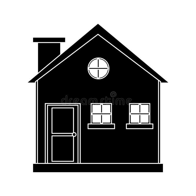 Extérieur en bois de cheminée de cottage de pictogramme illustration de vecteur