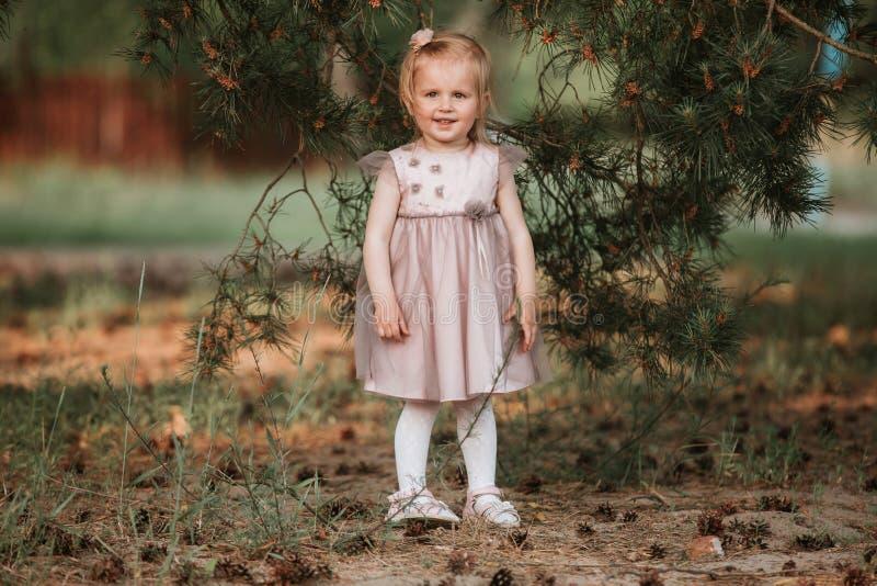 Ext?rieur de fille de portrait Petite fille stup?fiante dans une pose dr?le de robe sur le fond de nature photographie stock